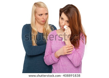 Tow girl. One girl is crying and one girl is angry - stock photo