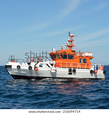 Tow ship. Collection of yachts and ships  - stock photo