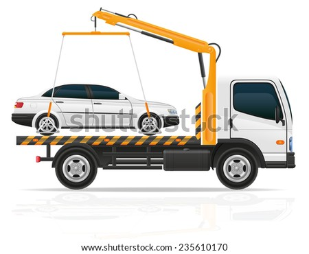 tow truck for transportation faults and emergency cars illustration isolated on white background - stock photo