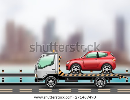 Tow truck loaded up the car against the background of the modern city to the beach.  illustration. - stock photo