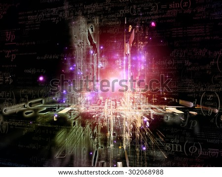 Toward Technology series. Abstract design made of light trails and fractal structures on the subject of science, education and technology - stock photo