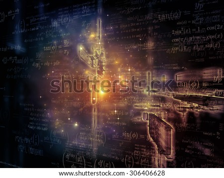 Toward Technology series. Backdrop of light trails and fractal structures on the subject of science, education and technology - stock photo