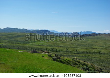 Towards Cody, Wyoming - stock photo