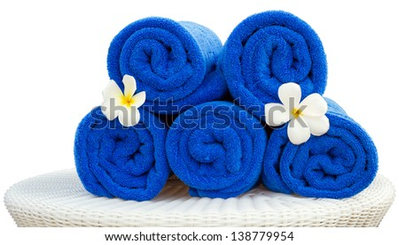 Towel and flower for spa in hotel - stock photo