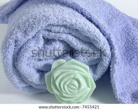 Towel and soap close-up for a relaxing bath