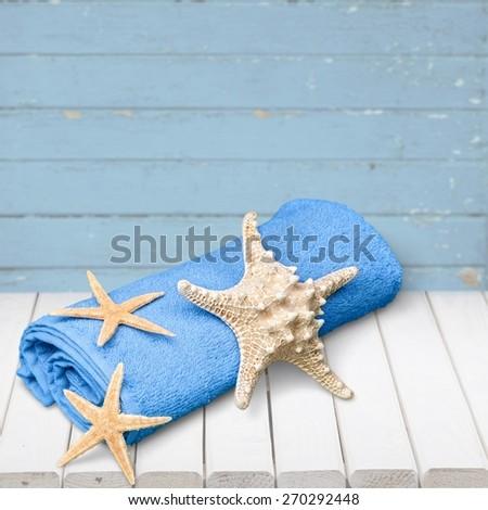 Towel, Beach Towel, Bathroom. - stock photo