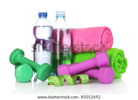 towel, dumbbells and water bottle isolated on white - stock photo