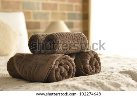 Towel in Hotel Room , Welcome guests , Room service - stock photo