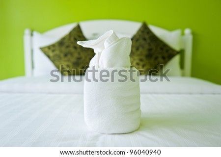 Towel in the Green Bedroom - home interiors. - stock photo