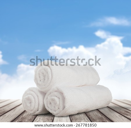 Towel, Laundry, Rolled Up. - stock photo