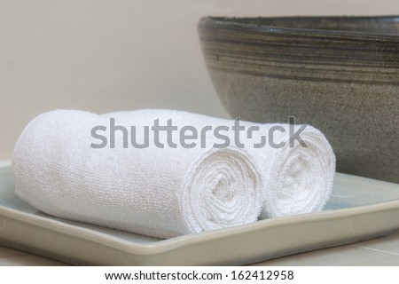 towel rolls in toilet - stock photo