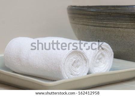 towel rolls in toilet - stock photo