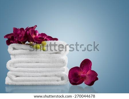Towel, Spa Treatment, White. - stock photo