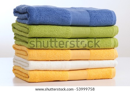 Towel stack. - stock photo