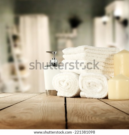 towels and bathroom  - stock photo