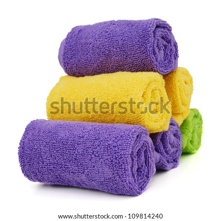 towels on white background