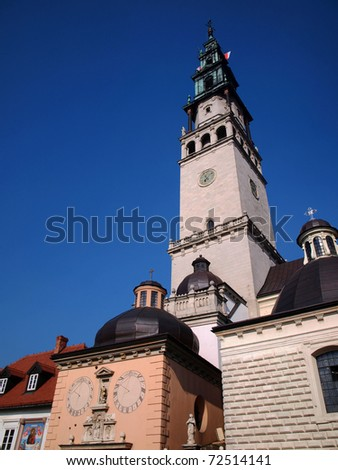 tower among other buildings in the monastery of Jasna Gora in Czestochowa, Poland - stock photo