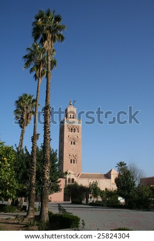 TOWER AND PALACE IN MARRAKECH, MOROCCO
