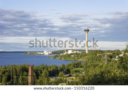 Tower and Residential District in Tampere, Finland.