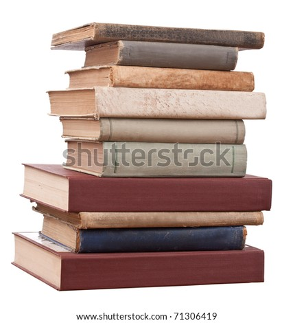 Tower books on white background arranged in stack