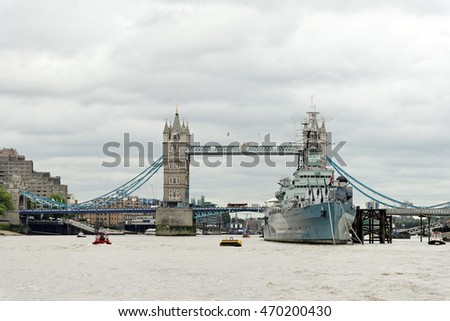 Tower Bridge, a combined bascule and suspension bridge in London, England, built in 1886-1894. It has become an iconic symbol of London.