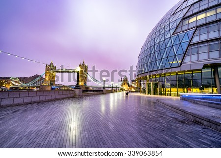 Tower Bridge and City Hall at sunrise in London, England - stock photo
