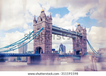 Tower bridge and city of London view from the River Thames - stock photo