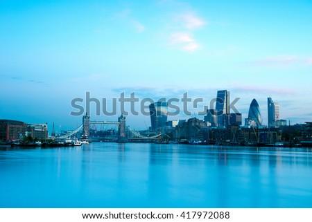 Tower Bridge and London skyline - stock photo