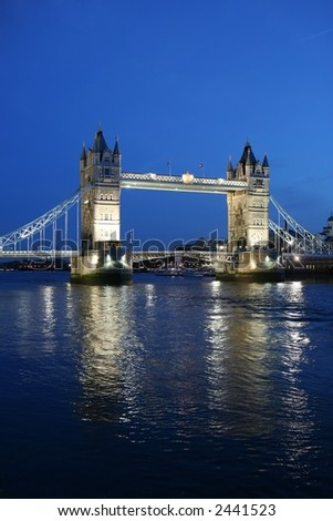 Tower Bridge and reflection at twilight - stock photo