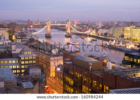 Tower Bridge and Tower of London from top view, London, England, UK - stock photo