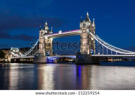 Tower Bridge at dusk, London - stock photo