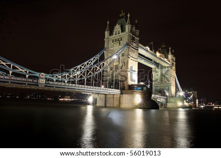 Tower Bridge at night - stock photo