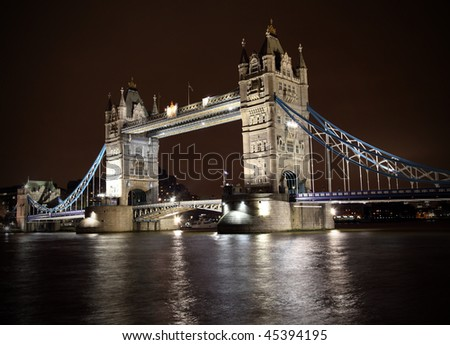 Tower Bridge at night in London, England