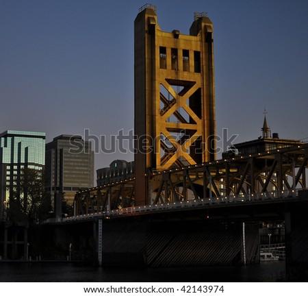 Tower Bridge at Night in Sacramento - stock photo