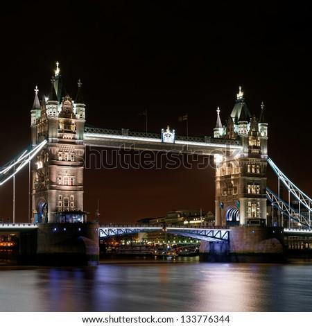 Tower Bridge at night, London, UK. - stock photo