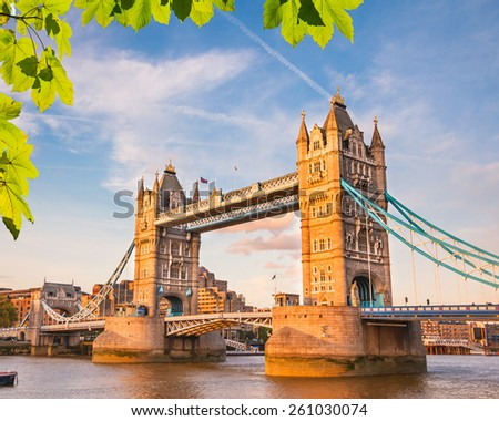 Tower bridge at summer, London - stock photo