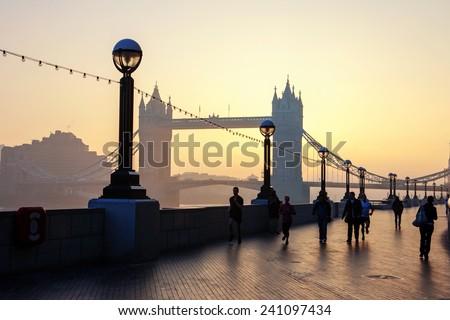 Tower bridge at sunrise, London  - stock photo