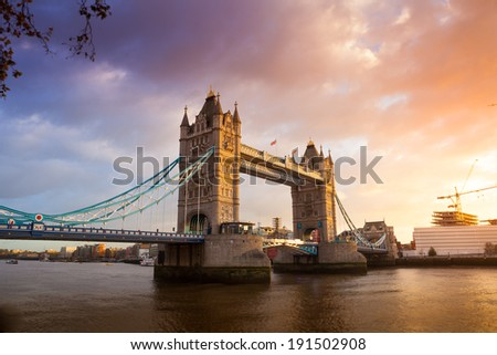 Tower Bridge at sunset twilight London, England, UK  - stock photo