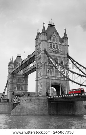 Tower Bridge black and white in London over Thames River as the famous landmark. - stock photo