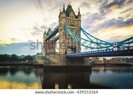 Tower Bridge by morning light in London, UK. - stock photo