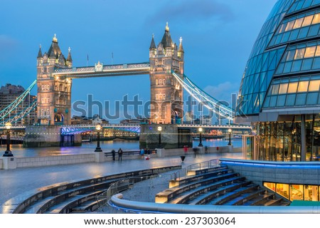 Tower Bridge crossing the River Thames in London from City Hall - stock photo