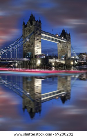Tower Bridge during evening, London, UK - stock photo