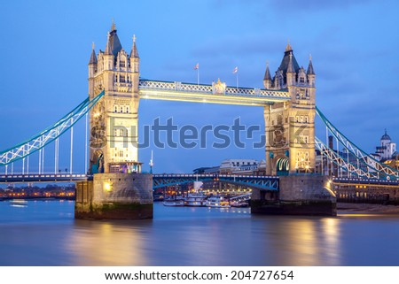 Tower Bridge England United Kingdom at Night, Fish Eye Perspective
