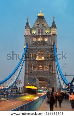 Tower Bridge in London as the famous landmark at dusk. - stock photo