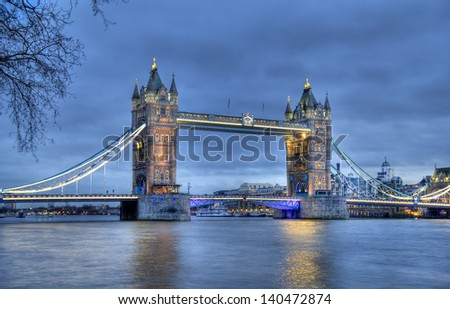 Tower Bridge in London in the evening - stock photo