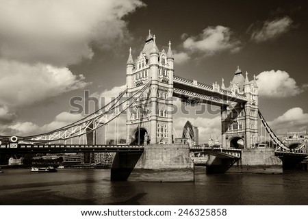 Tower Bridge in London - Monochrome retro style, United Kingdom, uk - stock photo