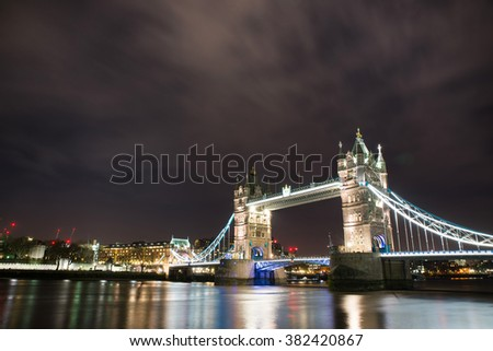 Tower Bridge in London night view