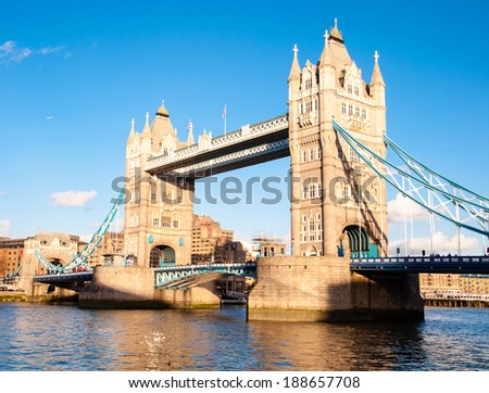 tower bridge in london on a sunny spring day - stock photo