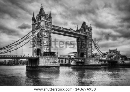 Tower Bridge in London, the UK. Black and white, artistic vintage, retro style - stock photo