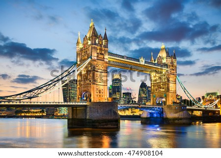 Tower Bridge in London, UK at night